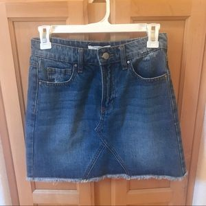 Premium denim skirt with raw hem